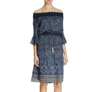 ELIE TAHARI FLORAL METALLIC OFF SHOULDER DRESS